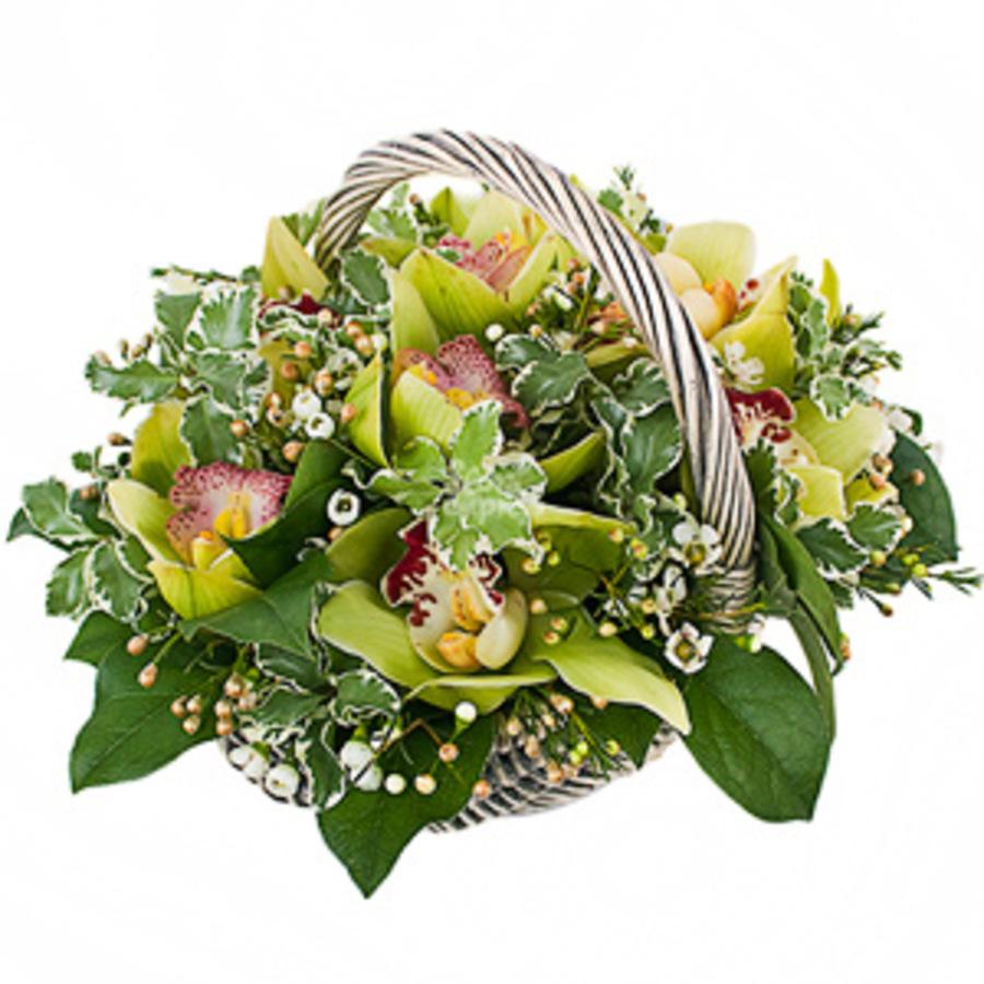 Букет, букет орхидеи в корзину москва