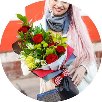 Букет Джентльмен: Розы и альстромерии